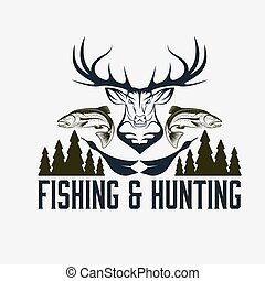 emblème, chasse, vendange, vecteur, conception, peche, gabarit