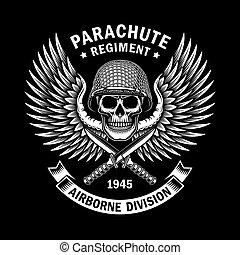 emblème, graphique, crâne, vecteur, noir, militaire