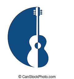 emblème, guitar., silhouette, bleu