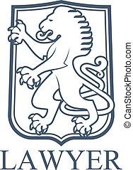 emblème, héraldique, lion, avocat, ou, icône