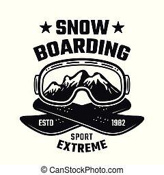emblème, hiver, vecteur, snowboarding, sport, extrême