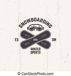 emblème, hiver, vecteur, sport, snowboarding, extrême