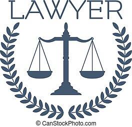 emblème, justice, couronne, balances, avocat, icône, laurier