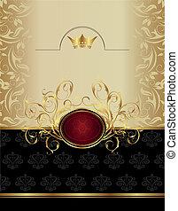 emblème, luxe, or, étiquette