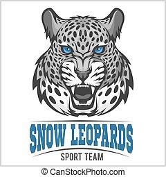 emblème, -, neige, vecteur, léopards, sport