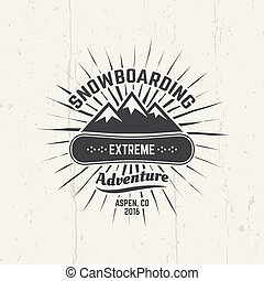 emblème, vecteur, noir, sport, snowboarding, extrême
