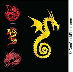 emblèmes, ensemble, rouges, or, dragons