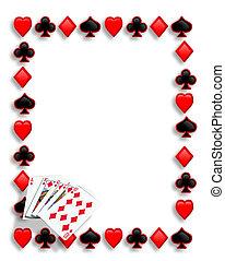 embraser, jouer, frontière, cartes, royal, poker