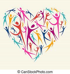 embrasser, concept, diversité, coeur