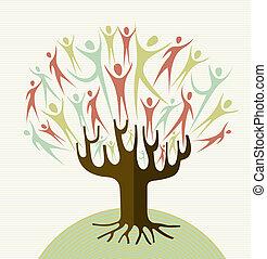 embrasser, ensemble, diversité, arbre