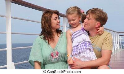 embrasser, paquebot, famille, pont