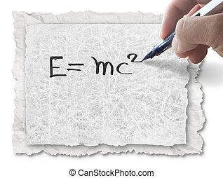 e=mc2, papier, dessin, main