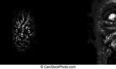 emerger, dark., zombi, effrayant, faces