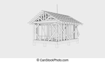emmagasiner construction, wire-frame, vidéo