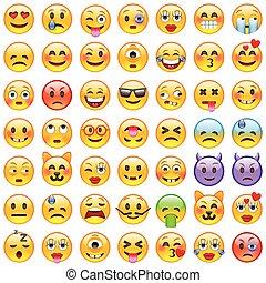 emoji., sourire, icônes, ensemble, emoticons.