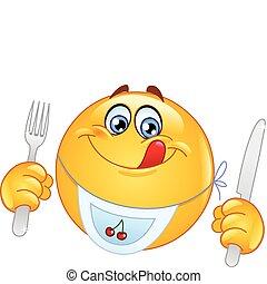 emoticon, affamé