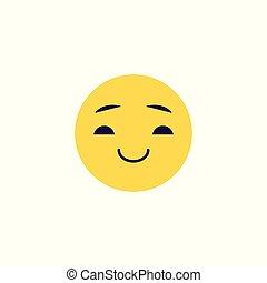 emoticon, balle, expression., positif, smiley, -, illustration, figure, vecteur, sourire, comique
