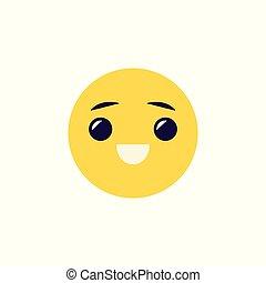 emoticon, balle, positif, smiley, -, illustration, figure, emotion., vecteur, rire, comique
