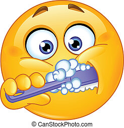 emoticon, brossant dents