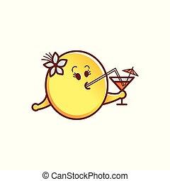 emoticon, cocktail, figure, smiley, vecteur, boire