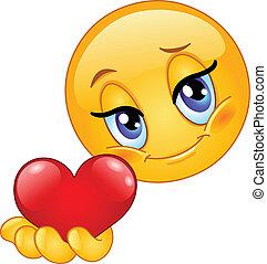 emoticon, donner, coeur