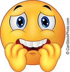 emoticon, effrayé, smiley, dessin animé