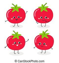 emoticon, ensemble, dessin animé, tomate, caractère