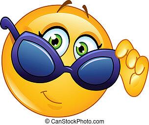 emoticon, examiner, lunettes soleil