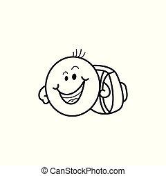 emoticon, figure, smiley, cartable, vecteur, mâle
