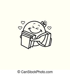 emoticon, figure, smiley, manuel, vecteur, femme