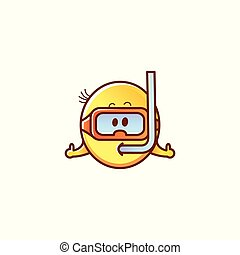 emoticon, figure, smiley, vecteur, mâle, snorkeling