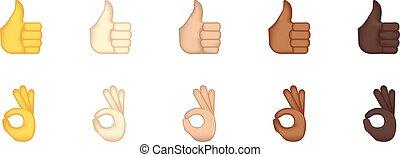 emoticon, geste, pouces, ok, dresser