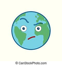 emoticon, globe mondial, isolé, suspecting