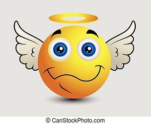 emoticon, heureux, smiley, ange, emoji