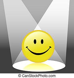 emoticon, heureux, smiley, projecteur, figure