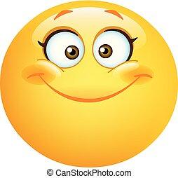 emoticon, mignon, femme, heureux