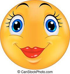 emoticon, mignon, smiley, femme