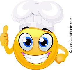 emoticon, ok, smiley, signe, chef cuistot, main, chapeau