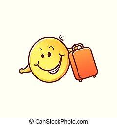 emoticon, parapluie, figure, soleil, smiley, vecteur, mâle