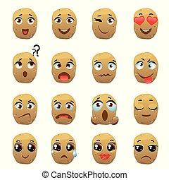 emoticon, pomme terre, expression, emoji