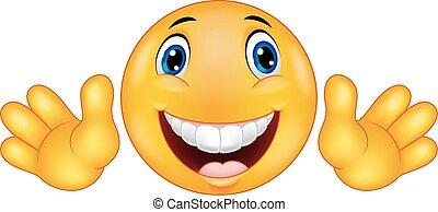 emoticon, smiley, dessin animé, heureux