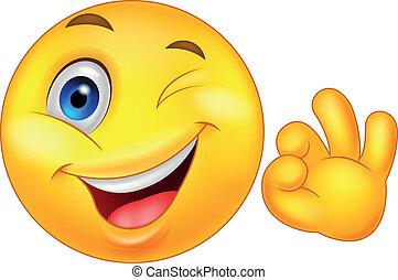 emoticon, smiley, ok signent