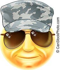 emoticon, soldat, emoji