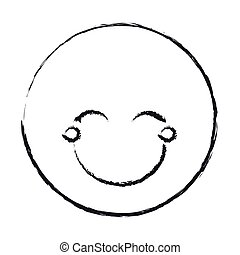emoticon, yeux, silhouette, fermé, figure, femme, brouillé, heureux