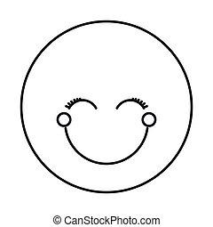 emoticon, yeux, silhouette, fermé, figure, femme, heureux