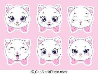emoticons., dessin animé, chats, clipart, mignon, vecteur, ensemble