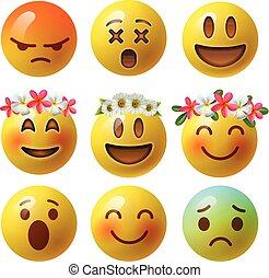emoticons, illustration., smiley, isolé, type caractère jaune, réaliste, vecteur, lustré, blanc, ou, fond, emoji