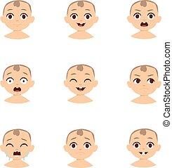 emoticons, set., vecteur, bébé, gosse, emoji