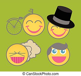 emoticons, vecteur, dessin animé