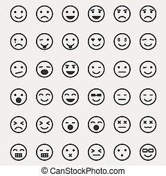 emoticons, vecteur, ensemble